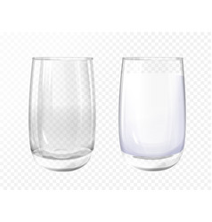 realistic empty milk glass cup set vector image