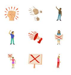 Riot icons set cartoon style vector