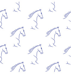 Seamless pattern with blue horses vector