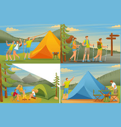 set 2d flat concepts outdoor activities camping vector image