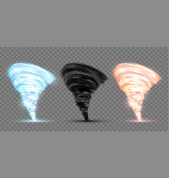 Set black blue and red tornado vector