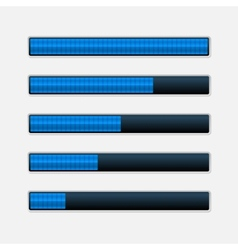 set blue progress bars loading bars vector image