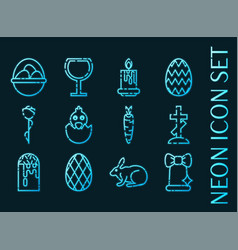 Set easter blue glowing neon icons vector