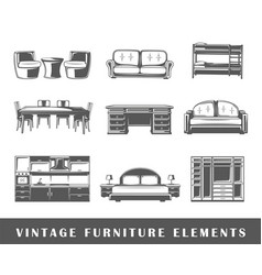 set of elements of the furniture vector image