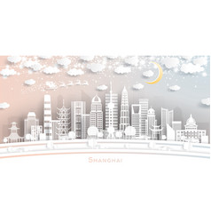 shanghai china city skyline in paper cut style vector image