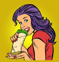 Shawarma kebab doner hungry woman eating fast vector