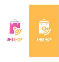 Shop and wifi logo combination sale vector