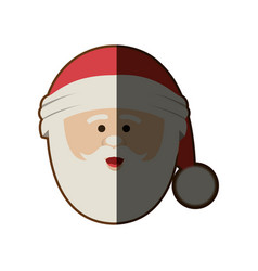 Silhouette of santa claus face with christmas hat vector
