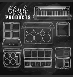 Sketch set of makeup products vector