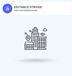 Smart city icon filled flat sign solid vector