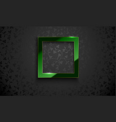 square glossy luxury green and golden line vector image