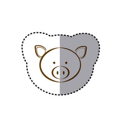 Sticker with brown line contour of face of pig vector