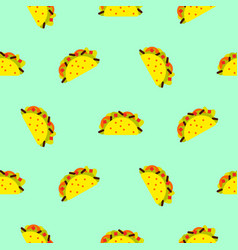 Taco mexican food seamless blue pattern vector