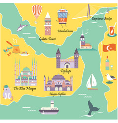 tourist map with famous landmarks of istanbul vector image
