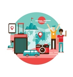 Travel around the world backgorund modern design vector
