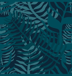 Tropical seamless pattern with palm leaves summer vector
