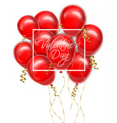 valentine day red balloons card realistic vector image