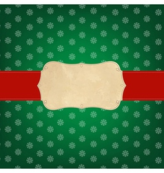 Vintage Green Merry Christmas Label vector image