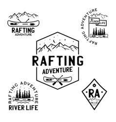 vintage rafting adventure logos mountain camp vector image