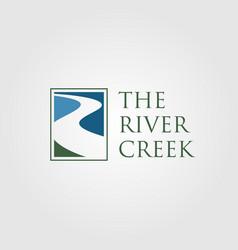 Vintage river creek logo designs vector
