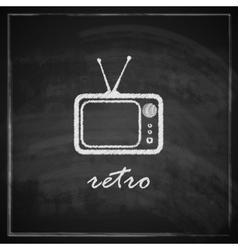 vintage with retro TV sign on blackboard vector image