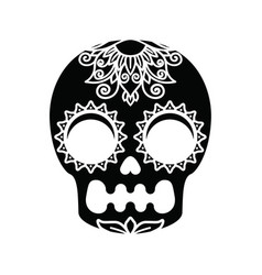 White patterns on a black skull vector