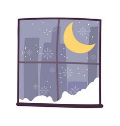 window moon snow night cityspace scene vector image