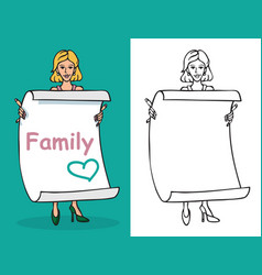Woman and sheet paper with inscription family vector
