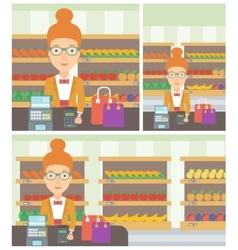 Woman paying wireless with smart watch vector image