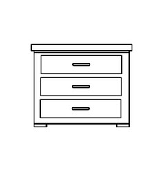 Wooden drawer furniture line style icon vector