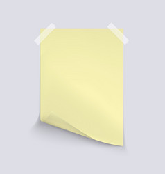 Yellow sheet of paper on light gray background vector