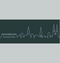 Zagreb single line skyline vector