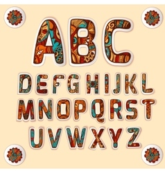 Zentangle alphabet colored letters stickers set vector