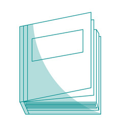 Blue silhouette shading top view semi opened book vector