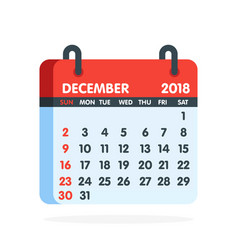 calendar for 2018 year full month of december icon vector image