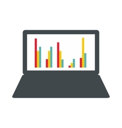 Laptop with business graph icon flat style vector image