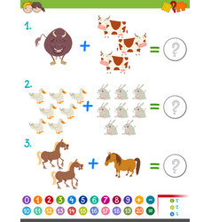 addition maths activity with animals vector image vector image