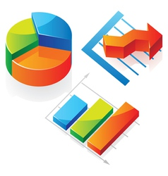 Isometric icons of charts vector image vector image