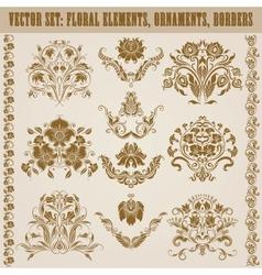 Set of damask ornaments vector image