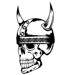 skull in viking helmet 3 vector image