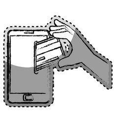 Sticker monochrome blurred with cell phone and vector