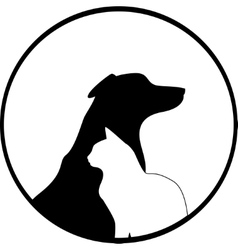 Composition of Dog and Cat Silhouettes vector image