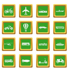 transportation icons set green vector image