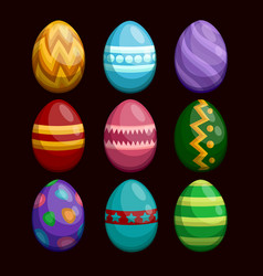 colorful easter eggs set isolated on dark vector image vector image