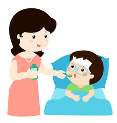 mother giving son medicine vector image vector image