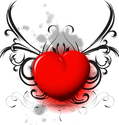 red heart on black pattern vector image