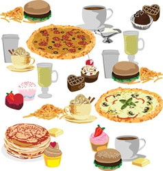 Seamless background of fast food vector image vector image