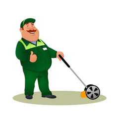 smiling character gardener man cutting grass vector image