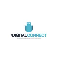 template logo for digital connect with usb flash vector image vector image