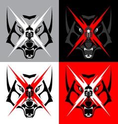 Tribal Wolf Emblem Tattoo for Big Motorcycle Biker vector image